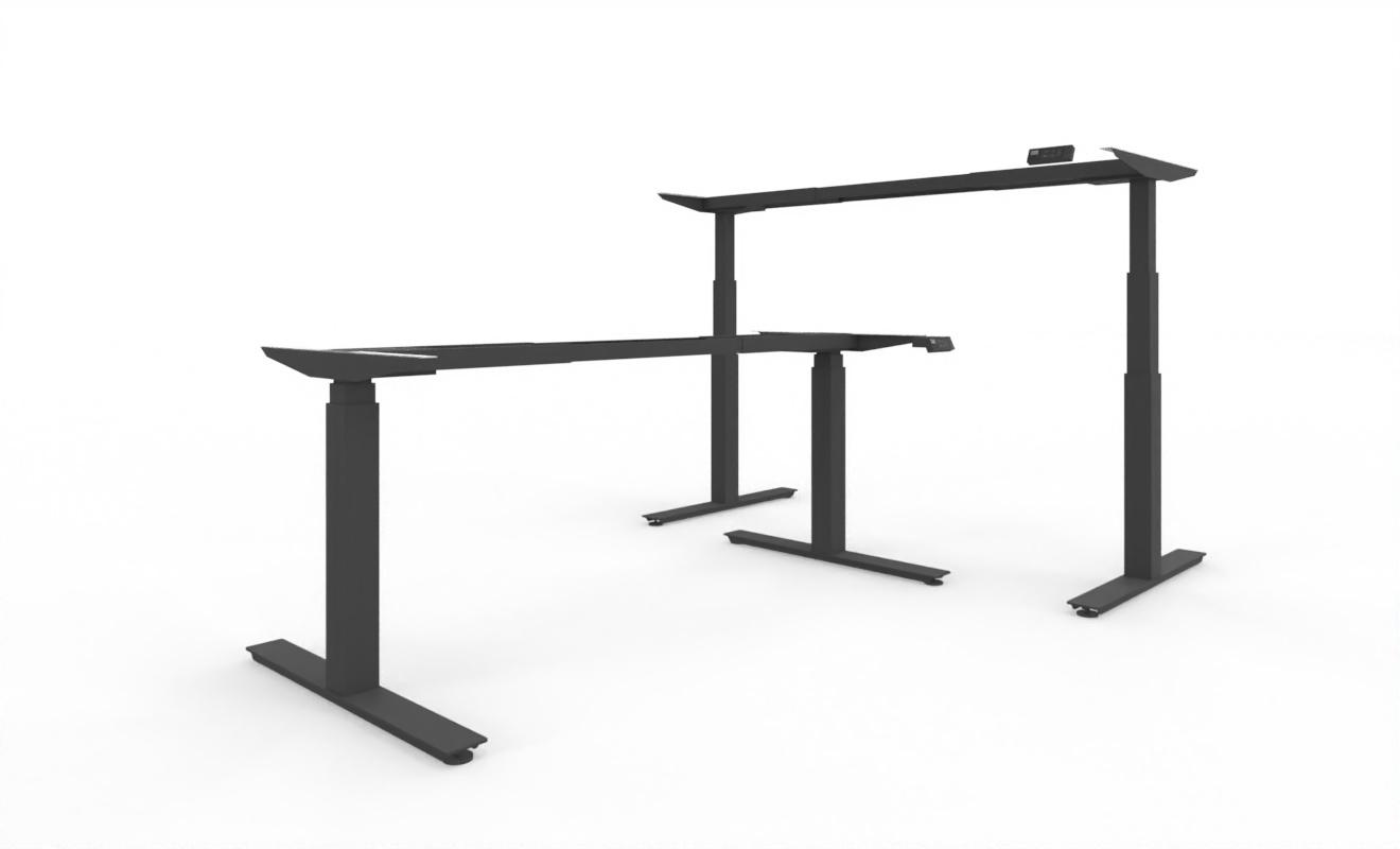 Elektrisch höhenverstellbares Schreibtischgestell, breitenverstellbar, extrem leise | weiss - silber - schwarz | Breite 1200 - 2000 mm | Höhe 625 - 1275 mm